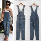 Womens Baggy Denim Jeans Full Length Pinafore Dungaree Overall Jumpsuit C1MY