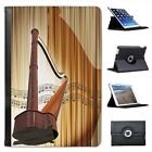 Wooden Harp with Reflection on Musical Notes Folio Leather Case For iPad Mini