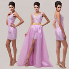 Long Removable Short Prom Party Ball Gown Bridesmaid Homecoming Banquet Dresses