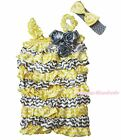 Infant Yellow White Chevron Gray Rose One Piece Baby Girl Satin Romper NB-3Year