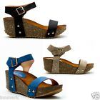 913 Women's Ladies Casual Holiday Shoes Straps Wedge Sandals UK 4 - 7 EU 37 - 40