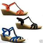 912 Summer Ladies Casual Holiday Shoes Strap Wedge Sandals UK 4 5 6 EU 37 38 39