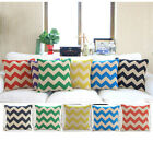 Vintage Linen Cotton Cushion Cover Home Decor Throw Pillow Case 45x45cm zigzag