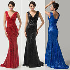 HOT Glamorous Women's Sequins Bridesmaid Sexy V Mermaid Evening Prom Party Dress