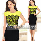 Women Pinup Cotton Lace Tunic Stretch Business Casual Party Pencil Dress 915