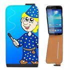 Blonde Hair Magician Holding Wand Making Magic Leather Flip Case for Samsung S4