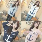 Girl Casual Batwing Long Sleeve Anchor Pattern Fashion T-Shirt Blouse W1349 GBW