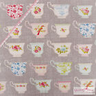 Tilda Porcelain Cup Lin Grey Fabric for Quilting/Craft/Patchwork - Shabby Chic