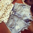 Trendy Broken Tore Up Fading Cotton Blend Denim Shorts With Nail Beaded For Lady