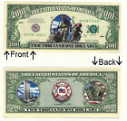 9-11 NY Firefighters 2001 Dollars Bill Novelty Notes 1 5 25 50 100 500 or 1000