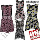 New Girls Daisy Leopard Floral Print Flared Belted Skater Midi Dress Party Top