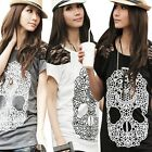New Design Summer Casual Skull Print Lace Crew Neck Short Sleeve Tops T-Shirts