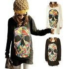 Fashion Ladies Girls Colored Skull Long Batwing Sleeve Dress Shirt Tops Blouse