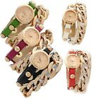 New Women's Dress Casual Punk Leatheroid Band Alloy Chain Belt Wristwatches