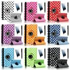 For Apple iPad Mini Retina 360 Rotating Polka Dot Leather Case w/ Stand