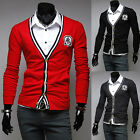 Black Red Gray Stylish Mens Cardigan V-Neck Knit Cardigan Casual Sweater Coats