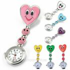 Heart Smile Face Round Dial Nurse Fob Brooch Pendant Pocket Quartz Watch New