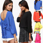 Mode-Frauen-Dame Backless bowknot beiläufige lose Chiffon Top Bluse Sexy T-Shirt