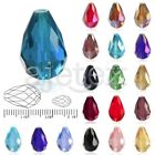 50pcs/72pcs Loose Faceted Glass Crystal Teardrop Spacer Beads 6x8mm/10x15mm Lots