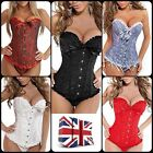 *UK* Sexy Bustier Boned Corset Burlesque Basque Lace Up Rouge Lingerie S-XXXL