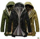 Mens Cloth 2in1 Hooded Fur Winter Long Coat Outerwear Warm Jacket 3 colors