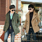 Mens Stylish Slim Jacket double breasted pea Coat casual outerwear trench Coat