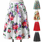 Audrey Hepburn Style Retro 50's 60's Summer Dance Party Swing Midi Skirts Dress