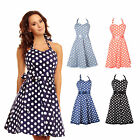 Vintage Polka Dot Halterneck Retro cocktail dresses 50s Pinup Rockabilly UK 8-24