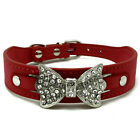 Dog Collar Bling Crystal Bow leather Pet Collar Puppy Choker Cat Necklace S M L