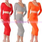 Sexy Ladies Candy Color High Waisted Cropped Outfit Two Piece Slim Bodycon Dress