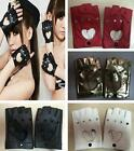 Pair Women Leather Driving Fingerless Mittens Dance Punk Motorcycle Gloves