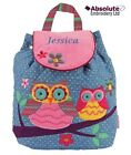 Stephen Joseph Signature Owl Quilted Backpack Rucksack can be personalised