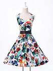 fast IN UK ROCKABILLY Vintage 1950s style Floral Summer Party Prom Swing dress 1