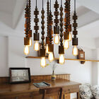 Retro Loft Wooden beaded Chandelier Ceiling Light Pendant Lamp Lighting