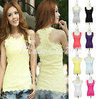 Hot Lace Cotton Tank Top Racerback Sleeveless Casual Cami Vest Waistcoat T-Shirt