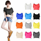 Lady Girls Pockets Crew Neck Basic T-shirt Modal Short Vest Crop Tops 11 Colors