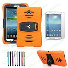 High Impact Hybrid Case For Galaxy Tab 3 7.0 Tablet Built in Stand Screen Guard