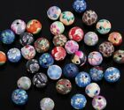 40PCS Assorted Colors Polymer Clay Fimo Flower Round Loose Spacer Beads 8mm