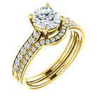1ct 6.5mm FB Moissanite & Diamond 14K Yellow Gold Engagement Ring Set
