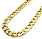 "24-26"" 9.5mm 10k Yellow REAL Gold Diamond Cut Cuban Curb Chain Necklace Mens"