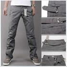 HOT Stylish Men's Comfort Casual Slim Fit Long Pattern Belted Pants UK FO