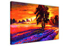 ABSTRACT SUNSET OVER TREE CANVAS WALL ART PRINTS PICTURES OIL PAINTING REPRINT