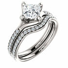 1ct 6mm Square Forever Brilliant Moissanite Solid 14K White Gold Engagement Ring