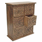 Wooden Mini Chest of Drawers, Jewellery, Spice, Collectables - Rustic Leaf