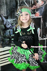 Halloween Black Top Pumpkin Print Girl Green Zebra Girl Pettiskirt Outfit 1-8Y