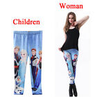Parent-child outfit Frozen queen Elsa Print Leggings Kids + Adult Tights Pants