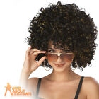 Disco Glitter Afro Wig Black and Gold Ladies 70s Afro Fancy Dress Costume