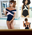 Retro Lady Navy Wind One Piece Swimsuit Monokini Bikini Swimwear Bathing Suit