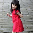 Girl/Kids/Toddler Linen Cheongsam Traditional Dress Short Cap Sleeve Summer Red