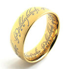 The Ring - Gold Plated Ring Necklace Pendant with Elvish Rune Engraving lord